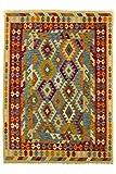 CarpetFine: Kelim Afghan Teppich 174x240 Beige,Blau,Rot - Geometrisch