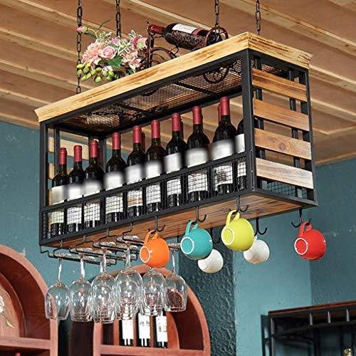 POLKMN Flaschenregal Weinregale Deckenmontierte hängende hölzerne Stemware-Becher-Gestelle-Wein-Flaschenhalter-Becher-Speicher-Küche (Size : 60 * 30 * 55cm) Stemware Fall