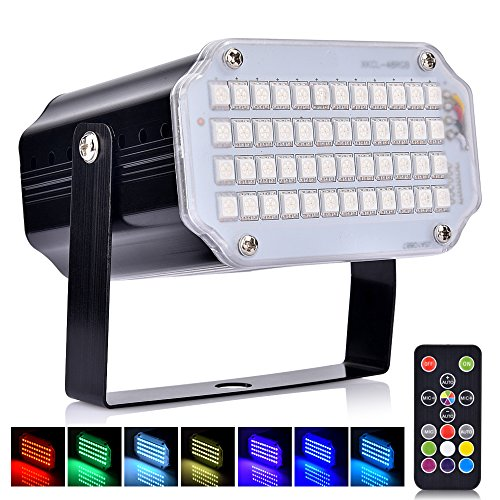 Disco Lichteffekt, AUSHEN 48 LED Stroboskop licht, party licht mit Fernbedienung, Sprachaktiviertes RGB LED Strobe Lampe für Christmas Disco DJ Party (Lieder Meine Halloween-party Für)