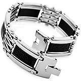 MunkiMix Edelstahl Gummi Kautschuk Armband Link Silber Schwarz Griechisch Polished Herren