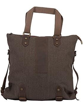 Michael Heinen Damen Shopper Tasche | Canvas & Leder | Handtasche | Schultertasche | Freizeit & Shopping