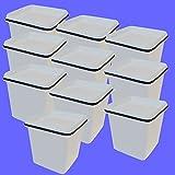 20 x 5 L Eimer mit Deckel eckig WEISS Kunststoff Plastikeimer lebensmittelecht