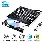 Externes DVD Laufwerk USB 3.0 und Typ C Tragbar Externe CD Laufwerk Ultra Slim Externer DVD Brenner Unterstützt Windows 10/8/7/XP Mac OS Laptop MacBook PC