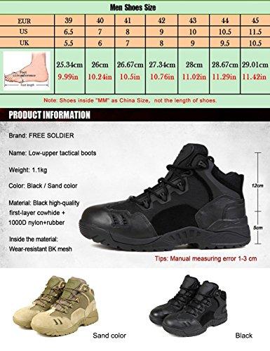 FREE SOLDIER Chaussures de randonnée pour hommes Chaussures de randonnée et d'escalade Bottes antidérapantes, respirantes et coupe-faibles Noir