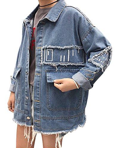 Minetom Damen Mädchen Beiläufig Stilvoll Bestickt Rose Gewaschene Jeans Denim Jeansjacke Jacket Oberbekleidung Coats Mantel E Blau DE 36 (Stretch-popeline-hemd Bestickte)
