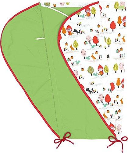 Priebes Sonnensegel Johanna UV Schutz 50+ | Sonnendach mit Seitenschutz | Universal Sonnenschutz | Sonnensegel für Kinderwagen Buggy Sportwagen | 100 % Baumwolle | beidseitig verwendbar , Design:rotkäpchen