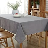 GWELL Baumwolle Tischdecke Eckig Abwaschbar Tischtuch Pflegeleicht Schmutzabweisend Farbe & 6 Größe wählbar grau 140*200cm