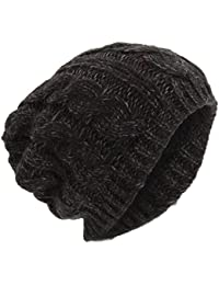Mens Winter Cable Slouch Beanie Hat