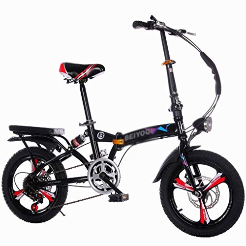 "Folding Bikes Bicicletta Pieghevole Ultra Leggera Portatile Pieghevole 50,8 cm Shock Absorption Shift Car Student Car Adult Small Bicycle High Carbon Steel, Nero, 50 cm(20\"")"