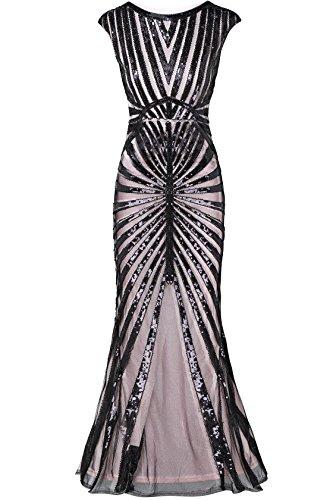 Kostüm Flapper Champagner - ArtiDeco 1920s Kleid Damen Maxi Lang Vintage Abendkleid Gatsby Motto Party 20er Jahre Flapper Kleid Damen Kostüm Kleid (Champagner, XS)
