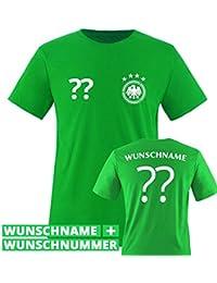 Kinder Fußball T-Shirt bedruckbar - WUNSCHNAME & NUMMER - WM / EM / DEUTSCHLAND - Rundhals Tshirt für Mädchen & Jungen in Grün - Deutschland Trikot in div. Größen