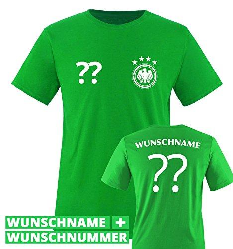 TRIKOT - DE - WUNSCHDRUCK - Kinder T-Shirt - Grün / Weiss Gr. 134-146 (Türkei Die Grünes T-shirt)