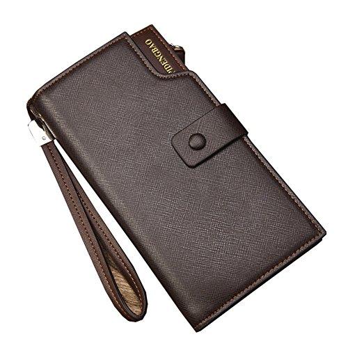 Wewod Große Kapazität Mode Herren lange Brieftasche Clutch Geldbeutel Geldbörse Portemonnaie mit Handy RV-Taschen und Münzgeldfach ca. 20*10.5*3.5 cm