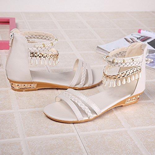 Hunpta Sommer elegante Plattform Schuh Frauen Perlen Keil Sandelholze beiläufige Schuhe Weiß