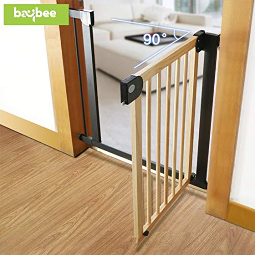 Baybee Auto Close Wooden Safety Baby Gate-Extra Tall Durable Dog Gate with Door - 76-83 cmEasy Walk-Thru Child Gate for House, Stairs, Doorways Protective Lock Gate for Indoor (Brown)