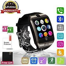 Adhope Reloj Inteligente Bluetooth Deportivo de Pulsera Soporte Facebook Twitter Táctil Alertas de Mensajes Smart Watch Android Teléfonos Inteligentes con Cámara TF para Deporte y Negocio