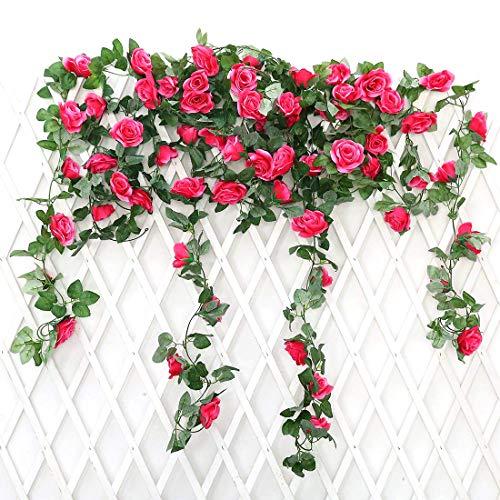Justoyou - rose e fogliame artificiali, decorazione a ghirlanda da appendere, confezione da 2 unità, in tessuto setoso, da 2,2 m, ideale come decorazione da parete per feste nuziali rose red