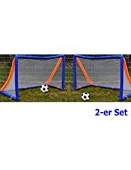 2 x Aufblasbares Fussball Set 2m x 1,3m Ball Pumpe Tor Garten Fußballtor
