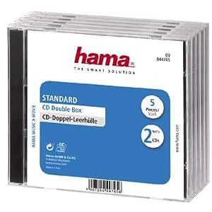 Hama CD-Doppel-Leerhülle Standard, 5er-Pack, transparent-schwarz