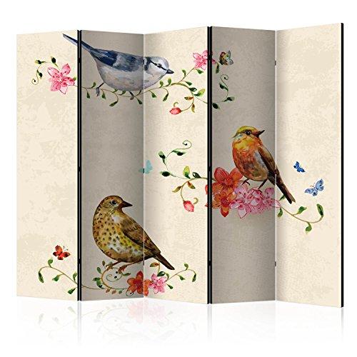 murando - Biombo Vintage Pájaros Flores 225x172 cm - de impresión Bilateral en el Lienzo de TNT Foto Biombo Decorativo para Interiores g-B-0064-z-c