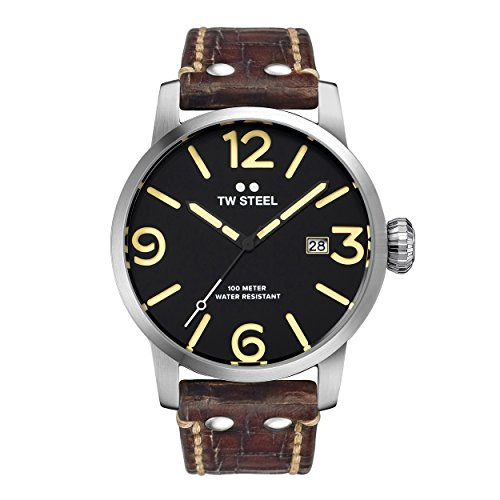 TW Steel Maverick Unisex Quartz Watch with Black Dial Analogue Display and Brown Leather Strap MS1