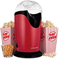 Andrew James Classic Popcorn Maker Machine | 8 Retro Style Popcorn Boxes | Makes Delicious Low Fat Snacks | 1200W | Red