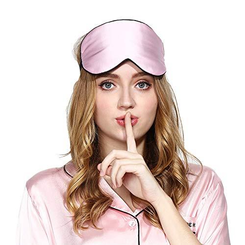 SLHP Schlafmaske Schlafmaske Eye Maske, natürliche Seide Stoff und natürliche Baumwolle, gefüllt mit verstellbarer Gurt für Männer, Frauen und Kinder rose