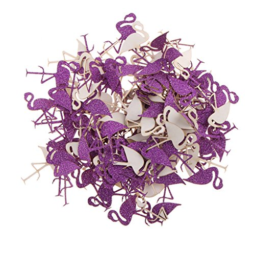 Sharplace-Confeti-Flamenco-Confeti-de-Mesa-Tropical-Fiesta-de-Hawaiano-Luau-Brillante-decoracin-Flamenco-Mundo-Fantstico-Morado