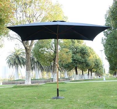 Sombrilla Parasol 2x3m y Altura 2,45m Jardin Terraza Poliester 180g/m2 y Madera