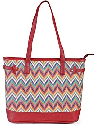 Women's Multicoloured Tote Bag With Zip Closure From Decorous