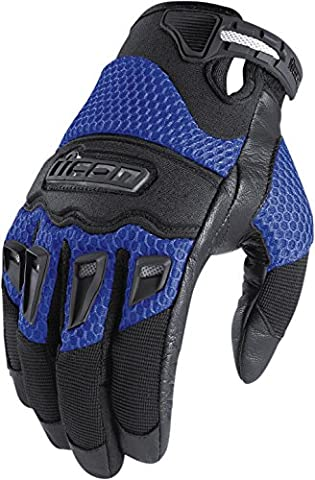Icon 29er Mens Summer Mesh Motorcycle Gloves (Blue, L)
