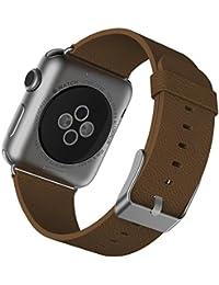 JETech Muñeca Banda Reemplazo para Apple Watch 42mm Series 1 2 3, Cuero de Búfalo, con Broche de Metal, Marrón