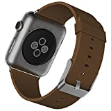 JETech Ersatz Uhrenarmband für Apple Watch 42mm Series 1 2 3, Leder Edelstahlverschluss Metallverschluss Armband, Braun