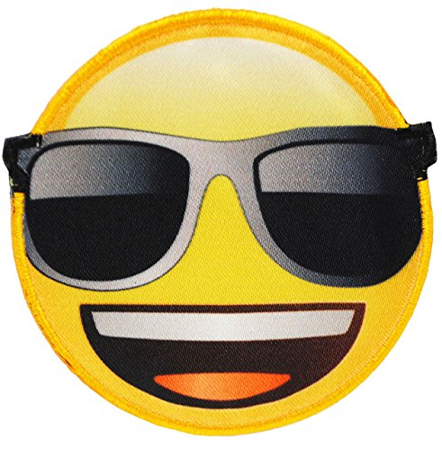 alles-meine.de GmbH 1 Stück _ Bügelbild -  Emoji - mit Sonnenbrille - Brille  - 6,8 cm * 6,6 cm - Aufnäher & Applikation - gewebter Flicken - Bügelflicken / Hosenflicken - Büg.. -