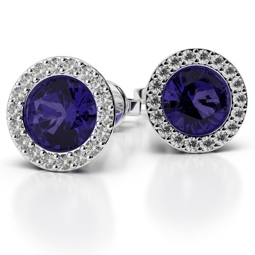 G-H/VS 0,26 CT sertie de diamants ronds Forme tanzanite et boucles d'oreilles en platine Ager-1075