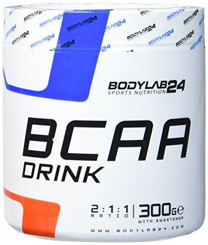 Bodylab24 BCAA Drink, Aminosäure Pulver, Geschmack: Himbeer-Limette, Leucin, Isoleucin und Valin im Verhältnis 2:1:1, hochdosiertes BCAA Pulver zum Muskelaufbau, 300g Dose