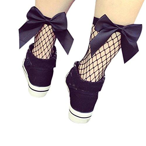 Socken Longra Damen Rüsche Fischnetz hohe Socken Mesh Spitze Fische Net kurze Söckchen für Damen Mädchen (A) (Dot Fischnetz)