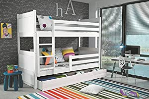 RICO children's bunk bed, solid wooden beds for kids +free mattresses & storage + SEE COLOURS AND SIZES: 160x80, 190x80, 190x90, 200x90