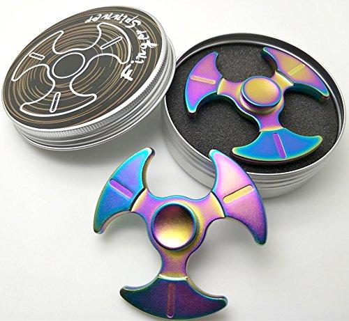 Fidget Toy Spinner Hand Spinner para niños o adultos Alivia el estrés y ansiedad aleación de aluminio,negro (Colorato)