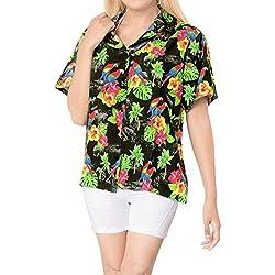 LA LEELA botón Camisa Hawaiana Blusa Playa Mujeres Cuello Manga Corta árboles Palma impresión del Traje de baño Partido XL-ES Tamaño-48-50 Negro_X189