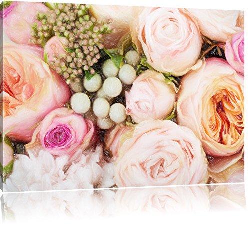 Rosa Rosen Bunstift Effekt, Format: 120x80 auf Leinwand, XXL riesige Bilder fertig gerahmt mit Keilrahmen, Kunstdruck auf Wandbild mit Rahmen, günstiger als Gemälde oder Ölbild, kein Poster oder - Rosa Bild Rosen
