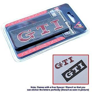 [2410RDA#42] GTI Red HQ Chrome 3D Car Trunk Badge Side Auto Emblem Logo Fender A