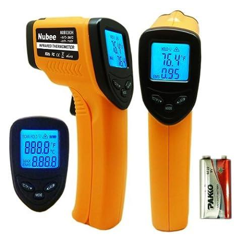 nubee 8380h Berührungslose Infrarot-Thermometer Temperatur Pistole mit Laser-Sight Max Display
