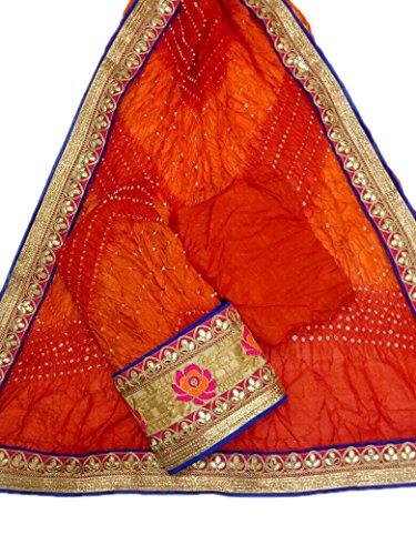 Jaipuri Rajasthani Suit Art Silk Bandhej Gota Patti Bandhini Dupatta Top & Bottom Multi coloured