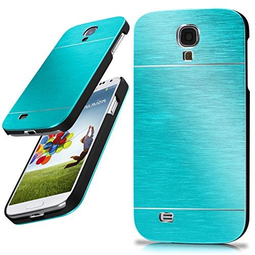 moex Samsung Galaxy S4 | Hülle Dünn Türkis Aluminium Back-Cover Schutz Handytasche Ultra-Slim Handy-Hülle für Samsung Galaxy S4 / S IV Case Metall Schutzhülle Alu Hard-Case Aluminium Hard Case