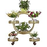 ZHANWEI Gartenregal Blumenregal Eisen Kunst Bodenständig Universalrad Mehrschichtig, 4 Farben, 50x28x78cm (Farbe : Bronze)