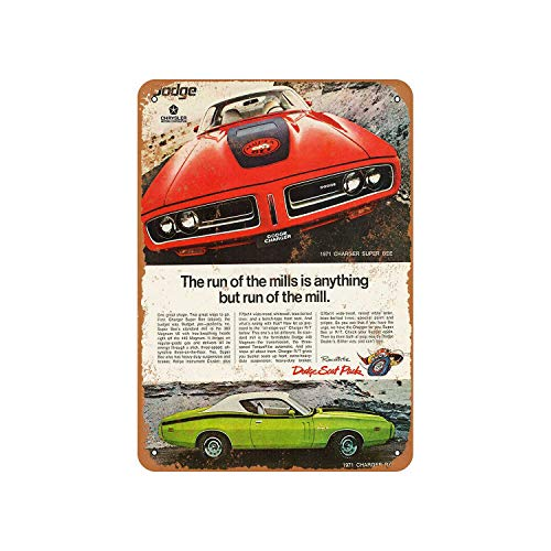 Fhdang Decor Vintage Pattern 1971 Dodge Charger Super Bee and R/T Vintage Look Aluminium Schild Metallschild 12x18 inches Multi