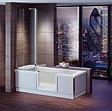 Senioren Badewanne mit Tür STYLE 180x80 cm komplett mit Duschaufsatz und Schürze