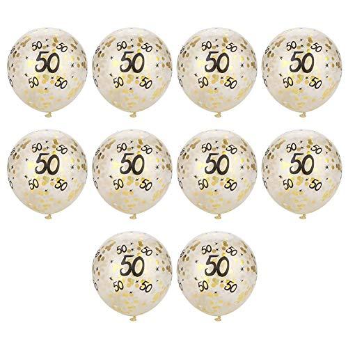 10pcs 30 40 50 Número Globos de Papel de Oro Confeti látex Globo Redondo decoración para la Fiesta de cumpleaños(Número50)