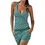 SMILEQ Damen Tankini, Bikini-Badeanzug Beachwear Badebekleidung bathingsuit mit Push Up, grün, Asiatisch XL